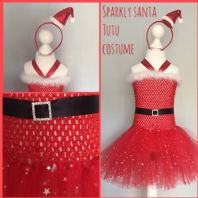 Santa red sparkly tutu tulle dress hat girl Christmas party dress up fancy dress